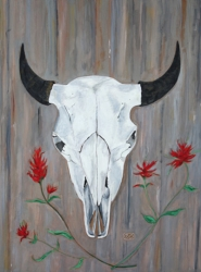 Buffalo Skull And Indian Paintbrush